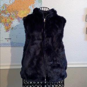 J. Crew Faux Fur Navy Blue Vest